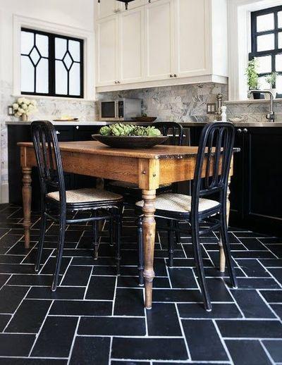 Black Floor White Kitchen Black Floor Tiles With White Grout Marble Subway Tiles White Marble Kitchen Inspirations Kitchen Flooring Black Floor Tiles