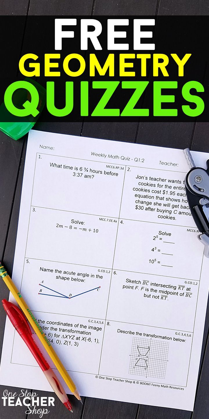 FREE Geometry Weekly Math Quizzes. These High School Geometry ...