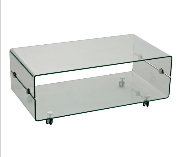 Beau Tempered Glass Coffee Table With Wheels