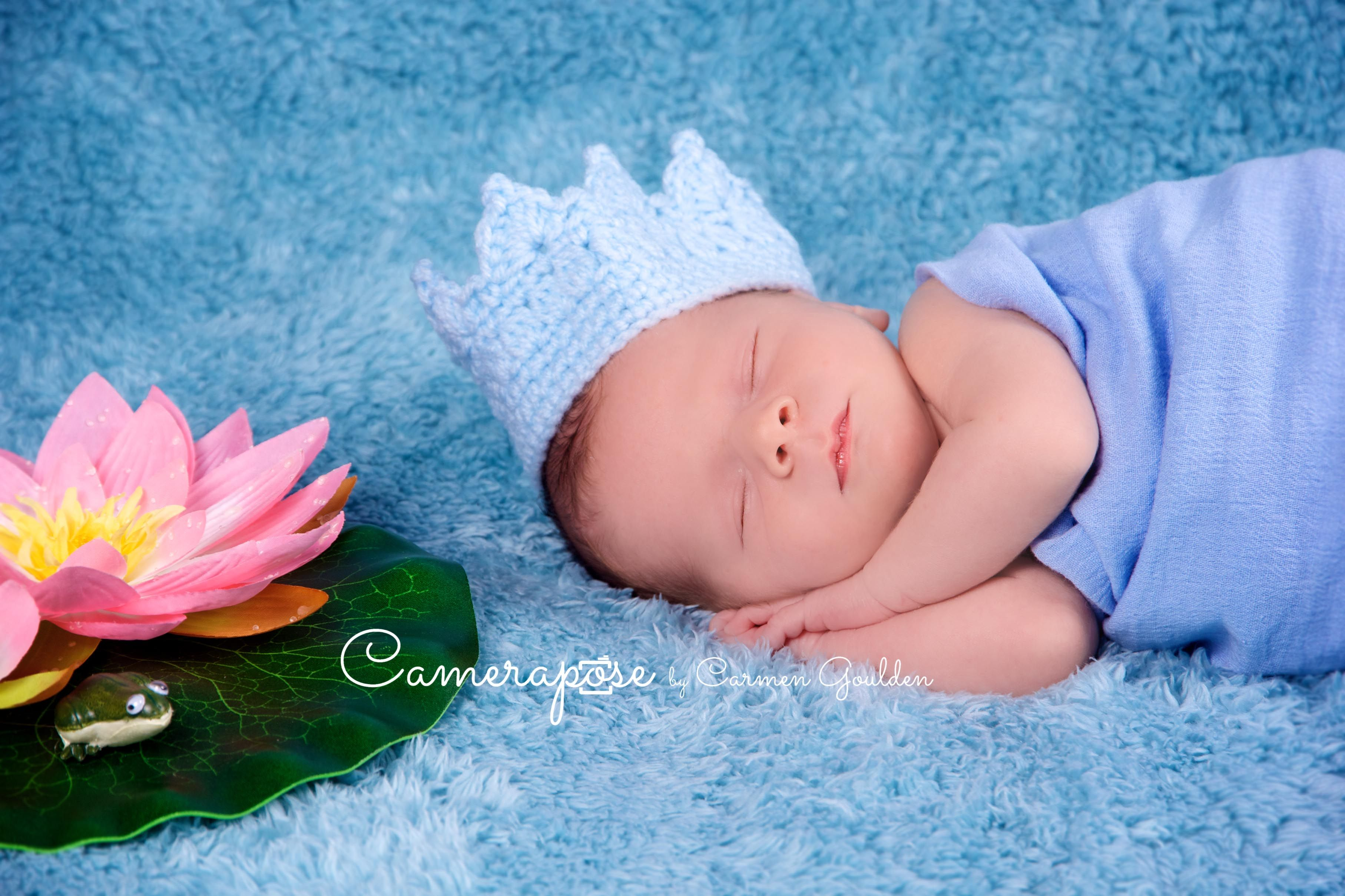 Newborn baby Joshua. This is the Frog prince theme with little blue ...