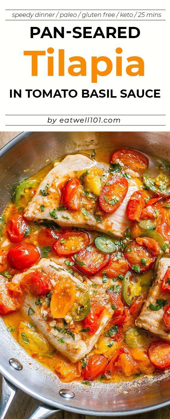Pan-Seared Tilapia in Tomato Basil Sauce - Keto fish meals
