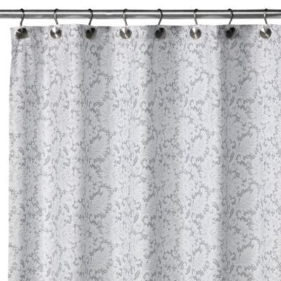 WaterShed® Single Solution™ Victorian Fabric Shower Curtain   White/Silver    Bed Bath Beyond