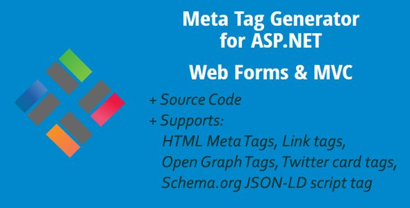 Meta Tag Generator for ASP.NET Web Forms & MVC . Meta Tag Generator (MTG) helps you to generate meta tags for your web