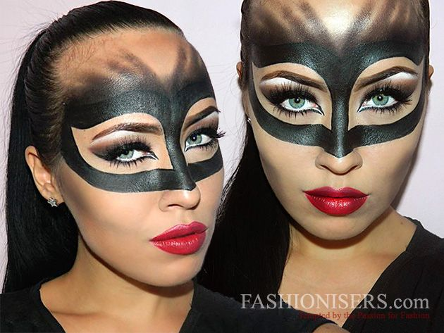 catwoman makeup tutorial for halloween makeup beauty tips pinterest fasching kost m. Black Bedroom Furniture Sets. Home Design Ideas