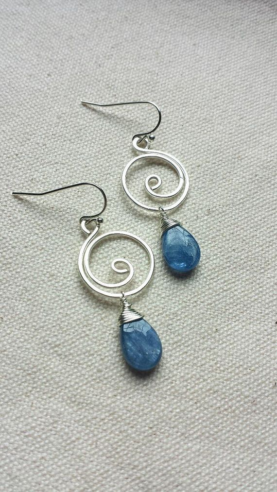 Blue Kyanite Silver Swirl Wire Wrapped Earrings By