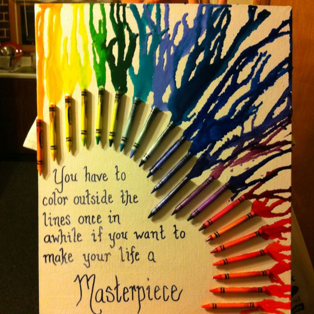 Katrina boley and her crayon melt art projects for Melted crayon art with quotes