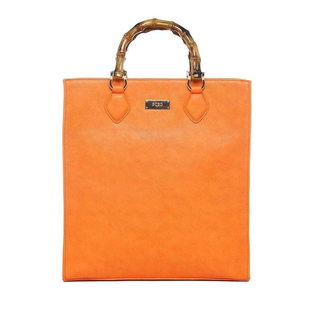 32e4ef3579  128 BCBG PARIS BAMBOO STORY Tote Shopper Purse Orange  BCBGParis   TotesShoppers