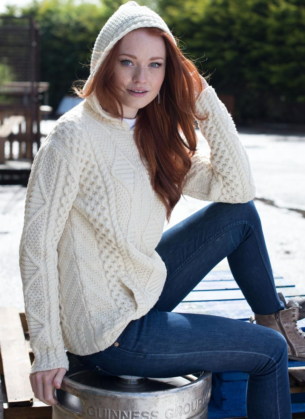 Aisling Hooded Aran Sweater - Our Aisling Hooded Aran Sweater fuses ...