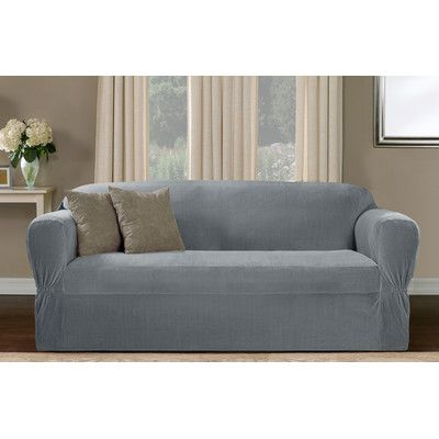 Maytex Collin Stretch One Piece Sofa Slipcover Upholstery Blue Smoke