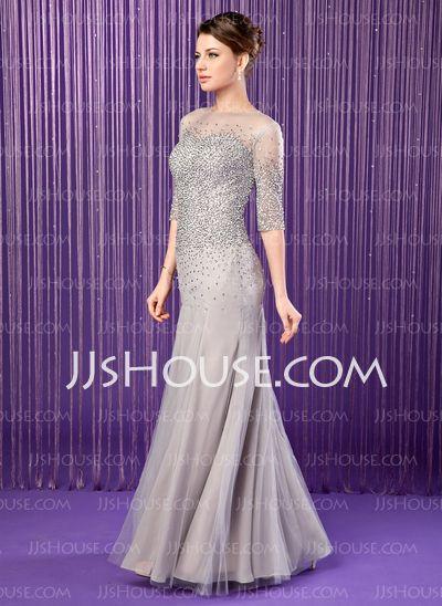 Sereia Decote redondo Vestidos longo Tecido de seda Tule Vestidos para a mãe da noiva com Bordado Lantejoulas (008019704)