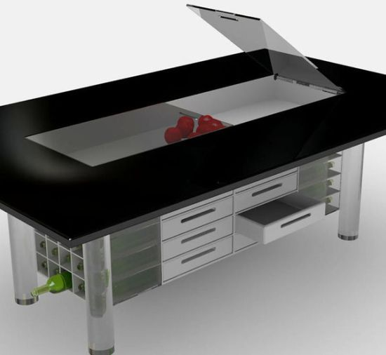 EGO Dining Table Set becomes storage to utilize idle space underneath & EGO: Dining Table Set becomes storage to utilize idle space ...
