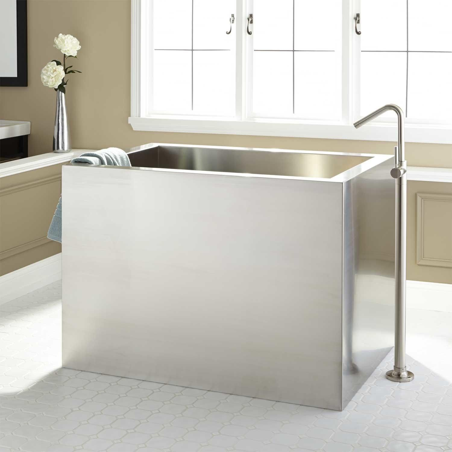 48 Amery Brushed Stainless Steel Soaking Tub Oil Rubbed