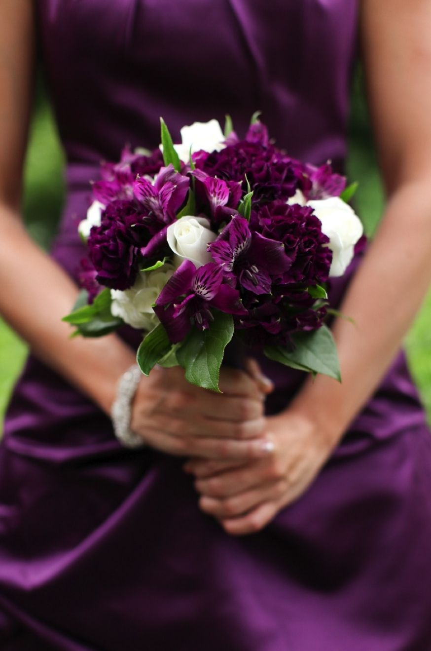 pinstripes glamorous bridesmaids flowers purple