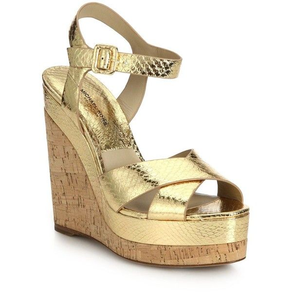 0703025991f5 Michael Kors Collection Cate Metallic Snakeskin   Cork Platform Wedge...  (€295) ❤ liked on Polyvore featuring shoes