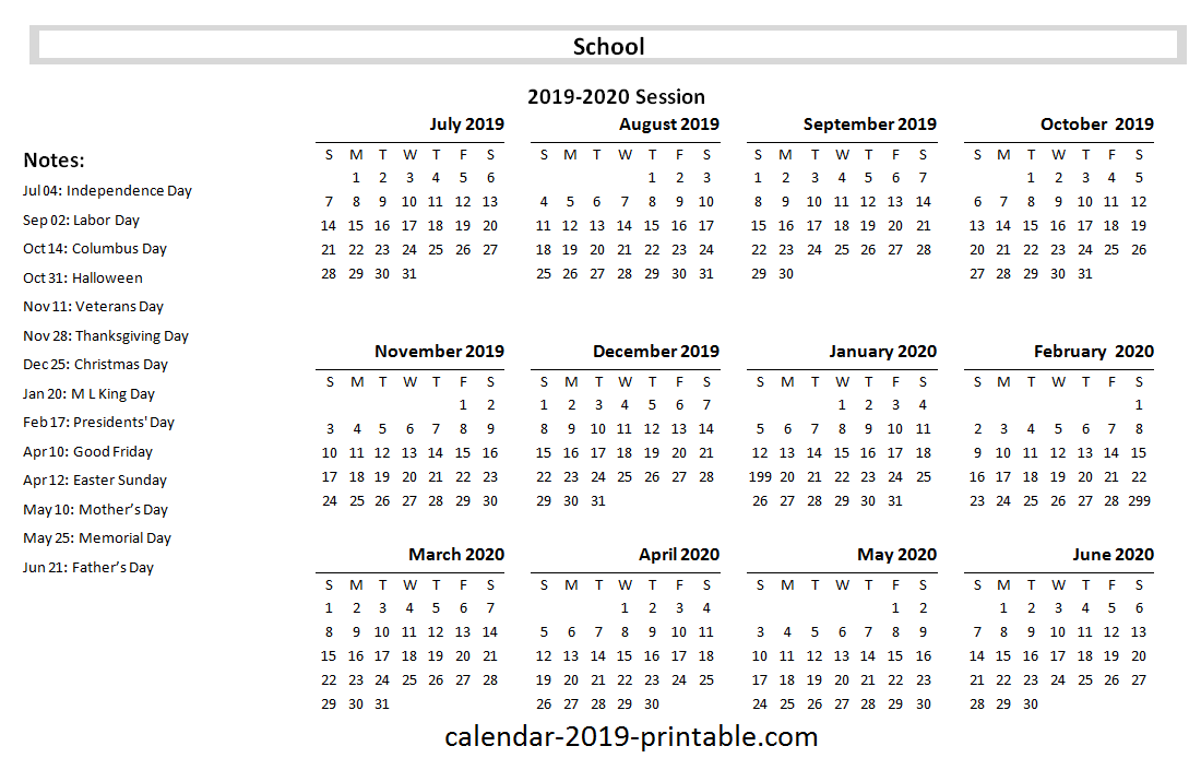 picture about Printable Academic Calendar named 2019-20 College or university And Instructional Calendar Calendar 2019