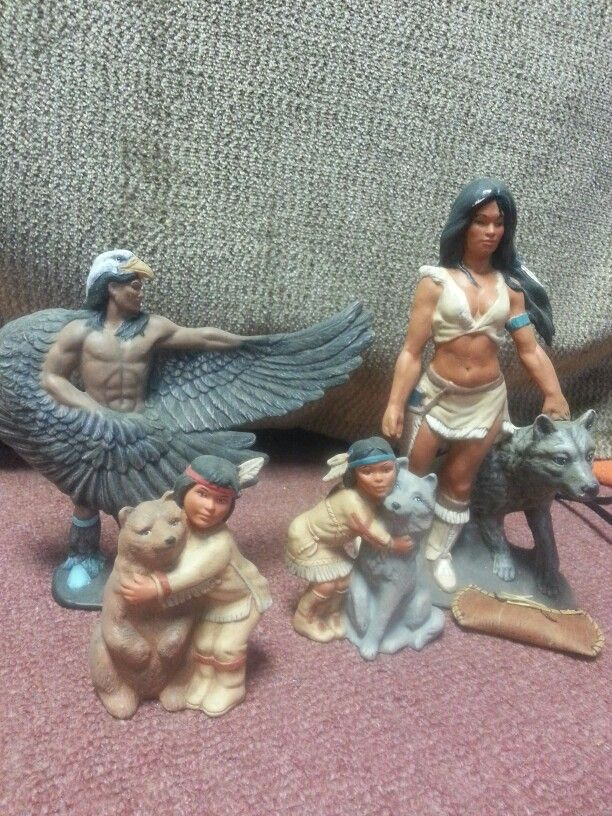 Loving my cherokee heritage I painted these sculptures in the 90,s