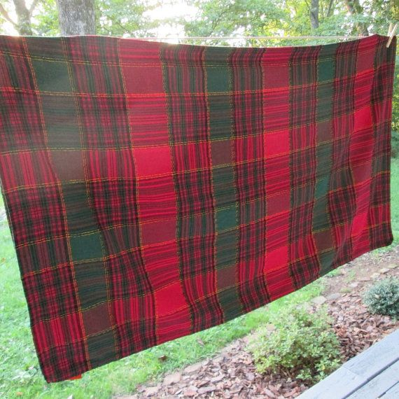Vintage Plaid Christmas Tablecloth - Red Green Gold | Plaid ...