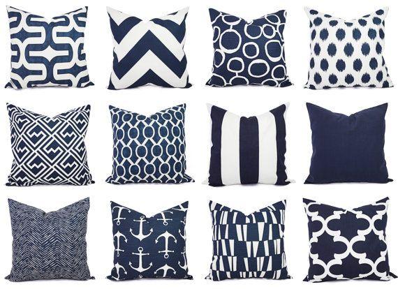 navy pillows white throw pillow covers