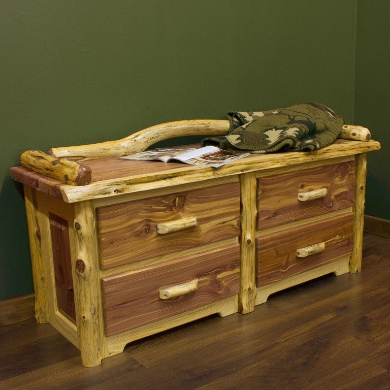 Red Cedar 4 Drawer Log Sitting Chest Is Perfect As An End