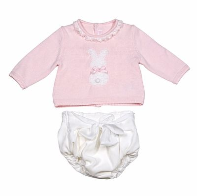 6e93db349e21 Mayoral Baby Girls Pink   White Cottontail Bunny Sweater and Bloomers Set
