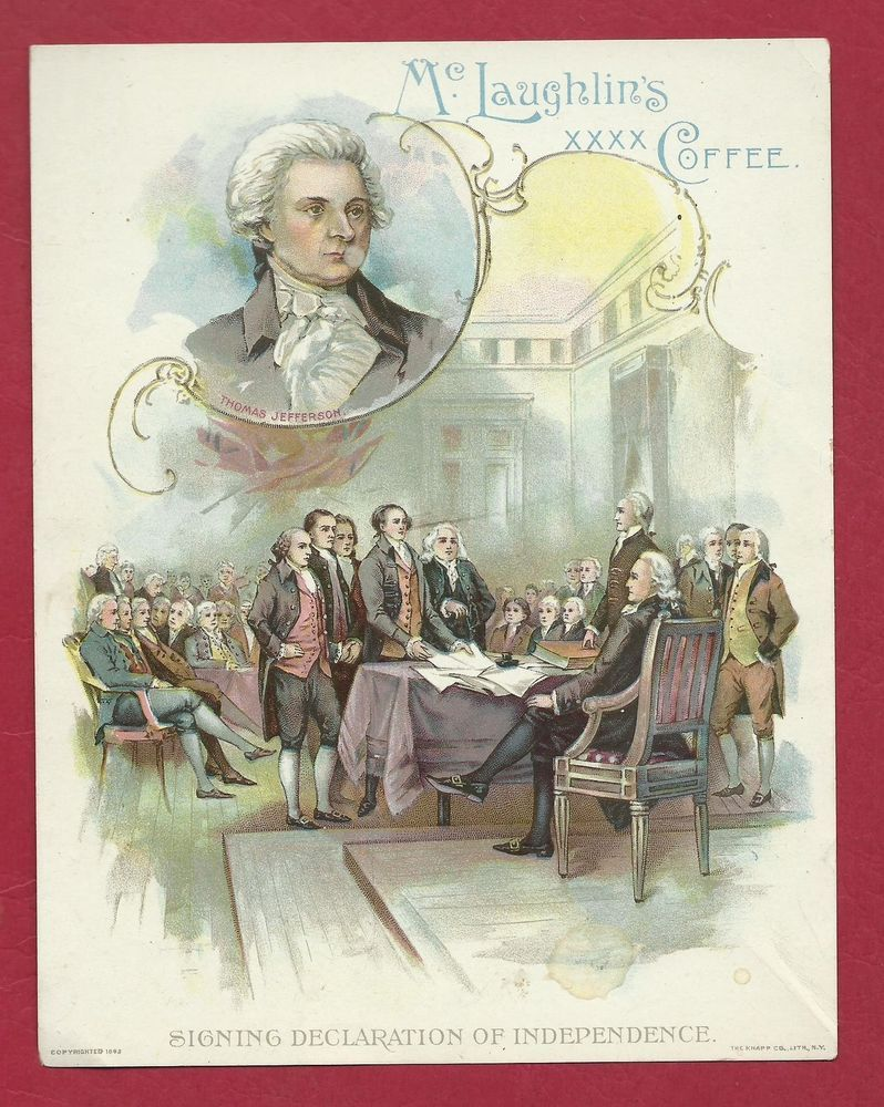 1893 McLAUGHLINS COFFEE 4TH OF JULY  President Political TRADE POSTCARD CARD