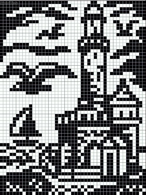 Black And White Lighthouse Scene Pattern Chart For Cross Stitch Knitting Knotting Beadi Pixel Art Pattern Cross Stitch Landscape Tapestry Crochet Patterns