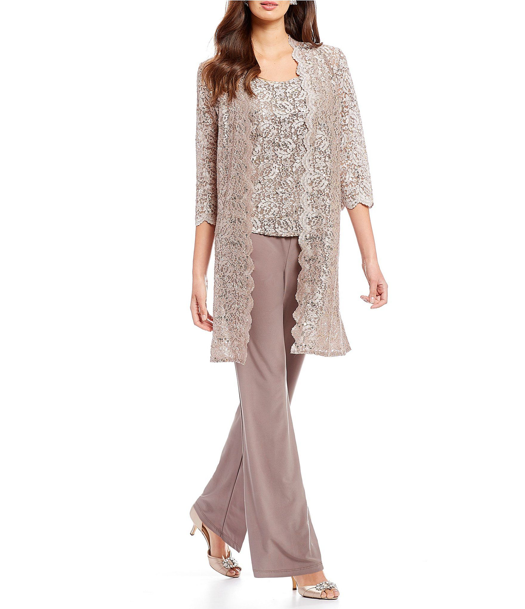 R & M Richards 3-Piece Sequin Glitter Scallop Lace Duster ...
