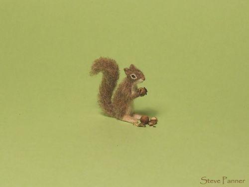 OOAK Furred Miniature Dollhouse Squirrel - Handmade by Steve Panner - IGMA $76.00