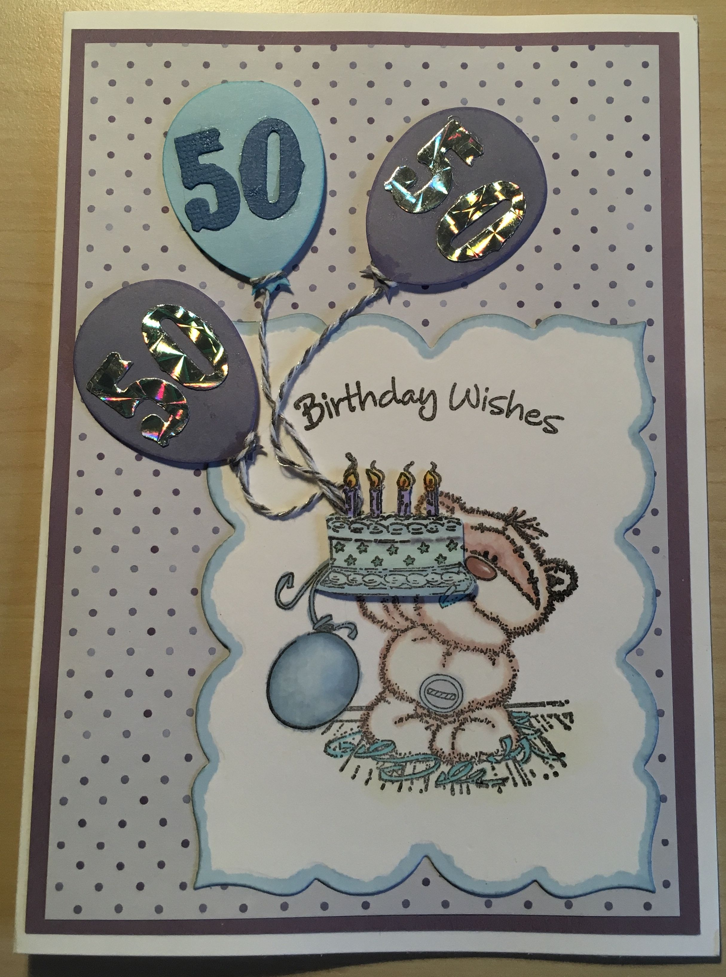 Th birthday card bear stamp and die cut balloons micheleus