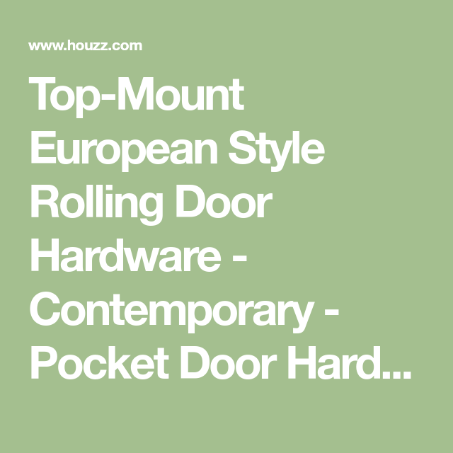 Top Mount European Style Rolling Door Hardware   Contemporary   Pocket Door  Hardware   By