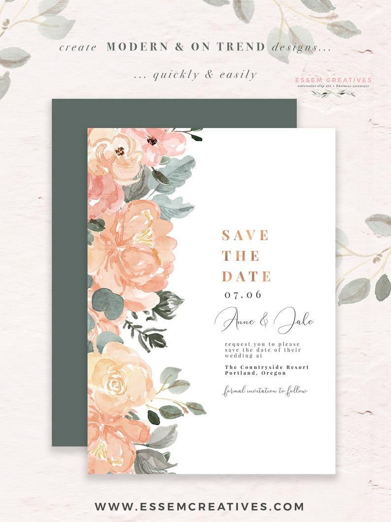 Modern Abstract Pink /& Mustard Wedding Suite  DIY PRINTABLE Invite Abstract RSVP  Modern Wedding Painted Wedding Artsy Wedding