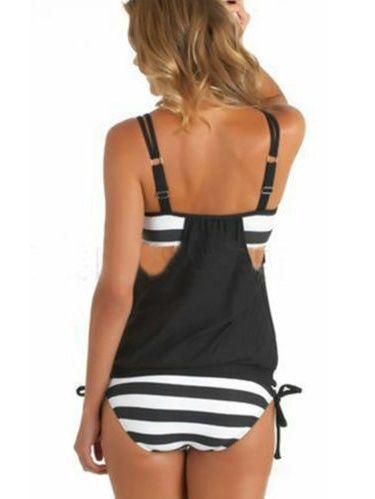 Womens Plus Size Tankini Set Strappy Stripe Bikini Push Up Swimsuit Swimwear Beachwear - Walmart.com 11