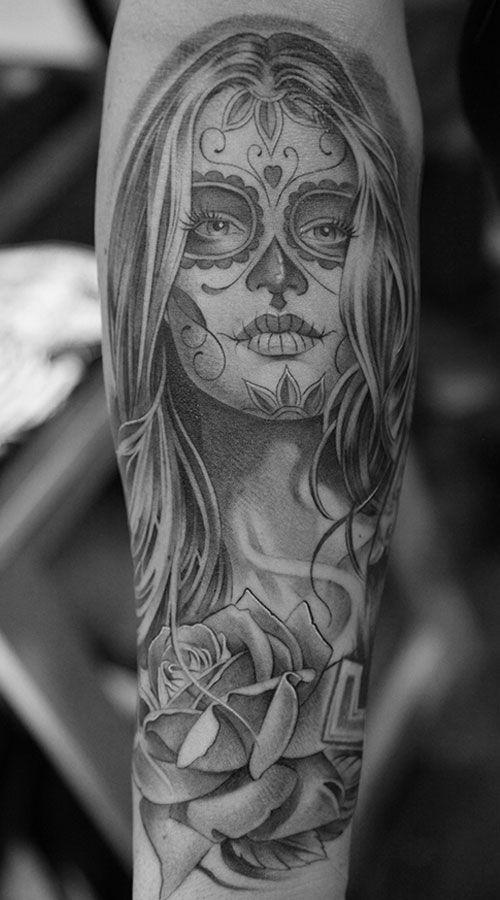 sugar skull girl tattoos pinterest tattoo ideen tattoo gesicht und teufel tattoo. Black Bedroom Furniture Sets. Home Design Ideas