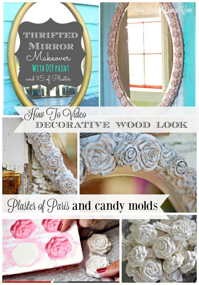 Mirror Makeover with Plaster, candy molds and DIY Paint! via @DebisDesignDiary #decorativewood #DIY #plaster