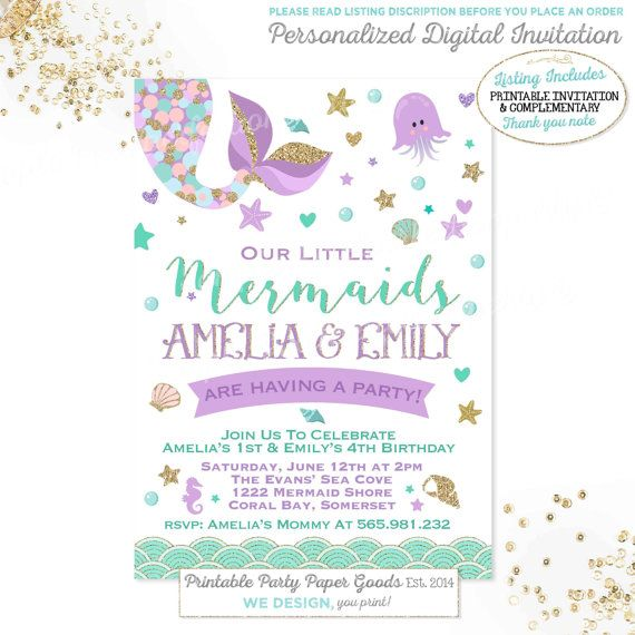 Sibling Mermaid Invitation Twins Birthday Teal Purple Gold Sparkle Under The Sea