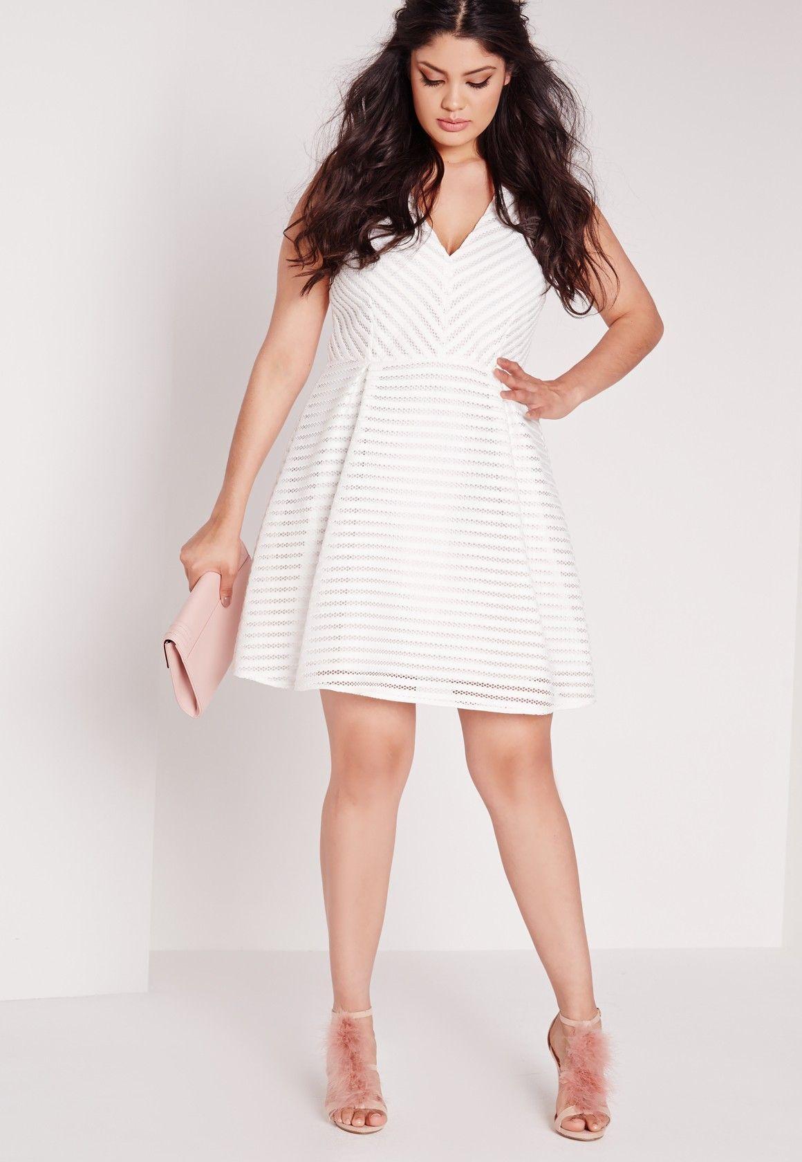 Missguided - Plus Size Skater Wrap Dress White | Vestidos in ...
