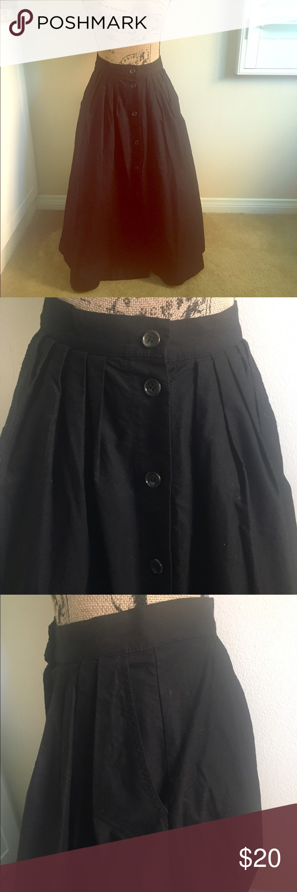 Black long button up circle skirt 🎉🎉NWT🎉🎉. Retro to the max! T length excellent thick, almost canvas material. Brilliant with a petty coat.button up front with POCKETS!:))) Skirts A-Line or Full