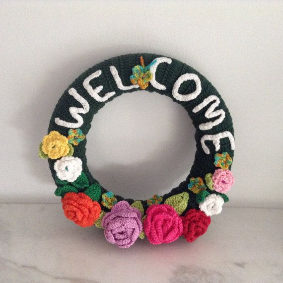 Photo of Items similar to Crochet Welcome Wreath on Etsy