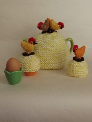 Country Chickens Tea Cosy Egg Cosy Knitting Pattern Craft
