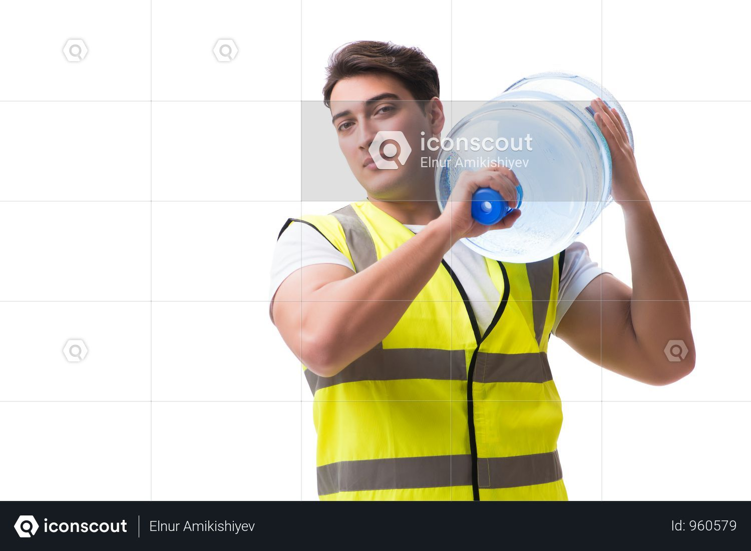 Premium Man Delivering Water Bottle Isolated On White Photo Download In Png Jpg Format Water Bottle Delivery Photos Bottle