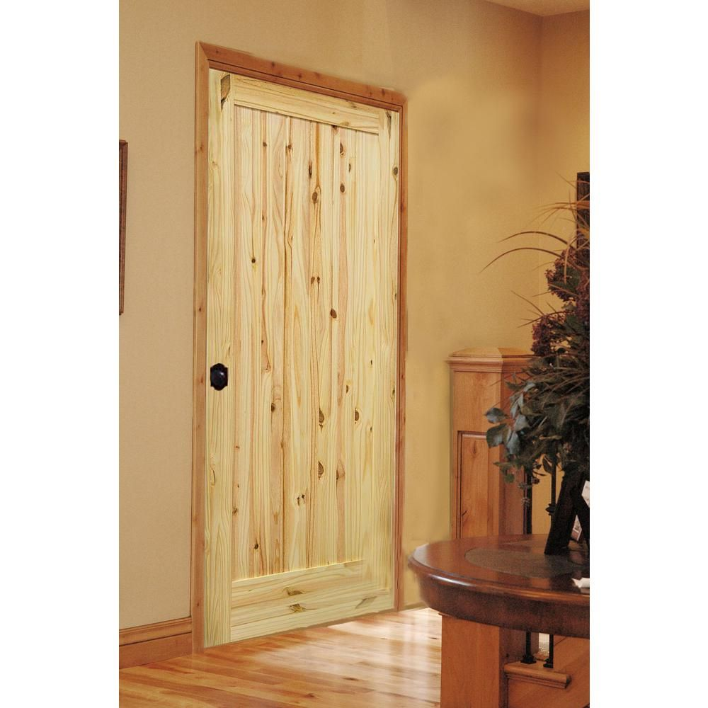 Knotty Pine Cabinet Doors: Krosswood Doors 30 In. X 80 In. 1-Panel Knotty Pine Right