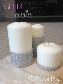 """The Pinterest Project: Glitter Candles Maybe add clear crystal stick on """"gems"""" from craft store."""