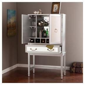 Monroe Mirrored Bar Cabinet Wood Silver Southe Target Con Imagenes Mueble Bar Muebles Bar