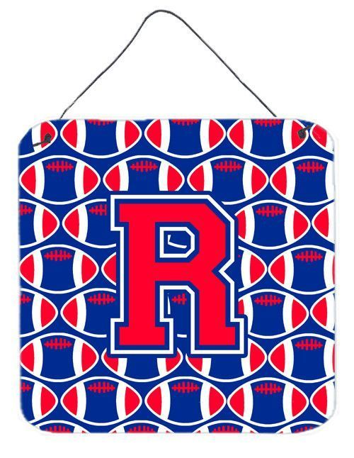 Letter R Football Harvard Crimson and Yale Blue Wall or Door Hanging Prints CJ1076-RDS66