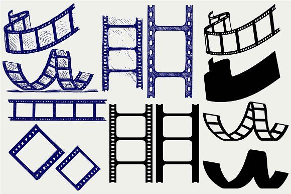 Set Film Strip Svg Film Strip Business Card Logo Business Illustration
