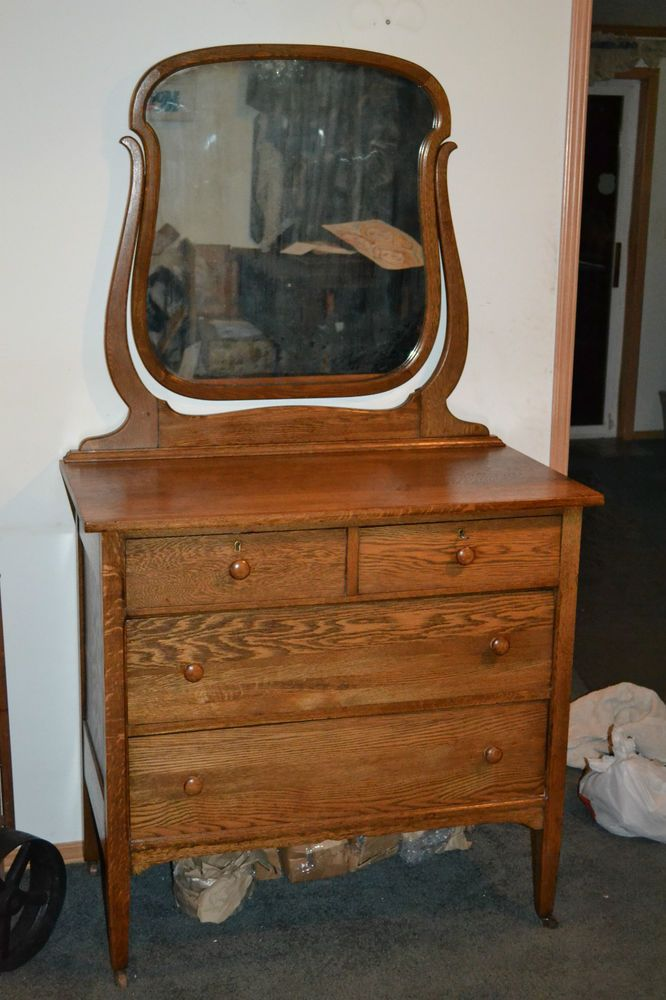 Antique Oak Bedroom Dresser Or Small Chest With Mirror Br Locks W Key Victorian Unkown