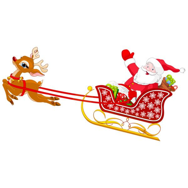 Santa And Reindeer With Sled PNG Clipart Liked On Polyvore Featuring Home Decor