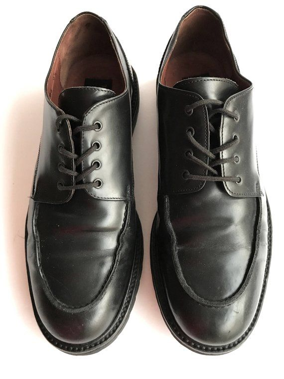 Mens Black Italian Leather Oxfords Strong Dark Waiter Shoes In