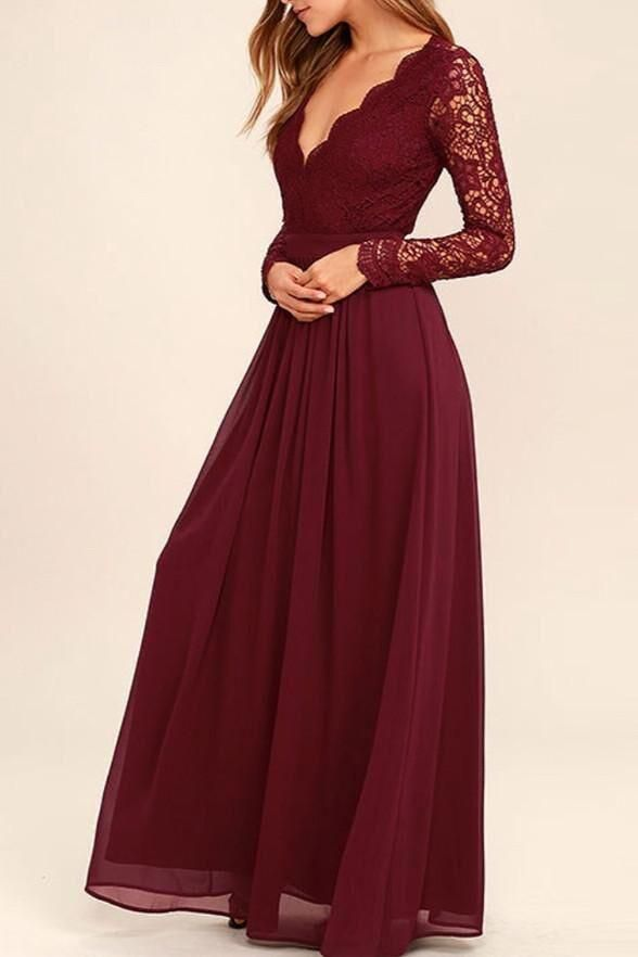 71182ebcfd1 Long Sleeves V-Neck Lace Chiffon Open Back Floor-Length A-Line Burgundy  Bridesmaid Dress PM168