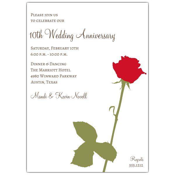 Wedding Anniversary Invitations Red Rose